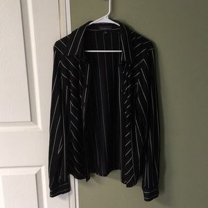 Black collared shirt with beige stripes
